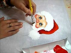 PINTURA EM TECIDO - Barba e Touca do Papai Noel painting Santa video #2