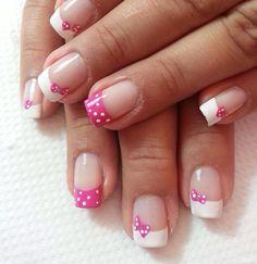 French Manicure Short Nails, French Tip Nail Art, Gel Manicure Designs, Nail Art Designs, Cute Nails, Pretty Nails, Solar Nails, Hello Kitty Nails, Nail Tips