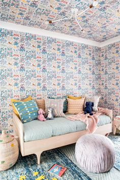 Children's Room in Good Vibrations by Cortney Bishop Design on Childrens Room, Wood Daybed, Decoracion Vintage Chic, Boho Chic, Bright Apartment, Bright Decor, Pastel Pattern, Interior Design Photos, Kids Room Design