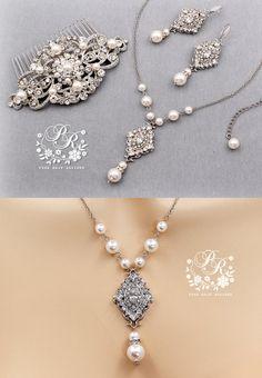 Wedding Necklace Earrings Hair Comb Set Swarovski Pearl Rhinestone Jewelry set Bridal Jewelry Wedding Jewelry Wedding Accessory Rhombus