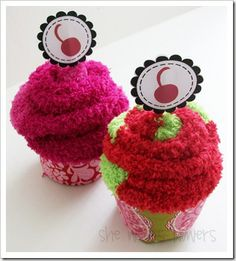 Sock cupcakes- the cupcake wrapper is a coffee coozie cute idea for a party where everyone has to remove their shoes to have a basket of socks for them to put on