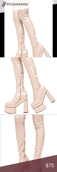 DOLLSKILL GOTH SALE PLATFORMS PRICE IS FIRM RARE Sky high thigh high platforms in nude peach color   Vinyl   No scratches   No imperfections   Sexy   Goth   Gogo boots   Mega sale    Size 10   With box   Brand new  6 inches heel   1 inch platform  Sugar thrillz   Dollskill  They are discontinued and can't be bought from Dollskill.  They are a bit stretchy but definitely hug your legs. I am a toothpick and they clung to my thighs so no looking like pirate or sausage 😂 sugar thrills Shoes…