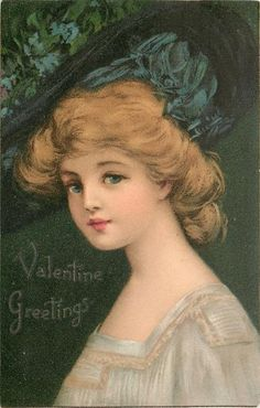 VALENTINE GREETINGS pretty woman, white gold trimmed dress & large hat, faces left, looks front