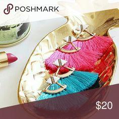 Hot Pink or Blue - Fan Fringe Earrings New colorful fan fringe tassel earrings! Jewelry Earrings