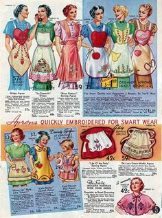 Apron Would love to have these to frame & put up in workroom! Vintage Apron Pattern, Aprons Vintage, Vintage Sewing Patterns, Retro Apron Patterns, Stephane Rolland, Look Vintage, Retro Vintage, Vintage Kitchen, Sewing Crafts