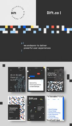 Create our own branding, aiming to be relevant and distinctive, in a way that is both representative of our forward thinking spirit and still conveys an appealing image to possible clients. Web Design, Logo Design, Graphic Design Layouts, Graphic Design Posters, Identity Design, Graphic Design Inspiration, Brochure Design, Graph Design, Corporate Design