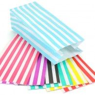 10 Candy Striped Block Bottom Bags - 7 Colours.  pretty gift wrapping, ribbon etc.