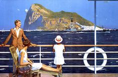 Wow, such a talented painter. It goes to show advertising work can be art.  Gibraltar, painted by Charles Pears for the Empire Marketing Board sometime around 1930. This was presumably destined for a poster, or magazine cover. I love the style.  National Archives catalogue reference: CO 956/538  Image source: The National Archives (UK) via the Flickr Commons. No known copyright restrictions.