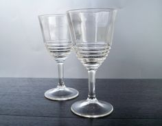 Vintage Wine Glasses Art Deco With Horizontal Rims by ellauniverse, $22.00