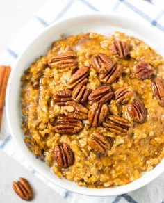 Pumpkin Overnight Oats. Easy, healthy steel cut oats, made in the slow cooker while you sleep! With pumpkin, cinnamon, and maple syrup.