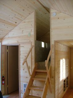 I am thinking I need to have this setup. My knees are getting too old for too much climbing. Stand up loft stairs | by Richs Cabins