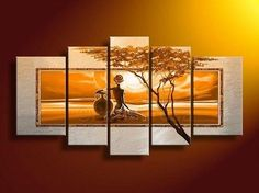 Painting Size: (total 5 panels) (total 5 panels) (total 5 panels) Extra Large Wall Art, African Elephant and Tree Painting, Bedroom Canvas Painting, Buy Art O Buy Paintings Online, Buy Art Online, Online Painting, Hand Painting Art, Large Painting, Oil Painting On Canvas, Woman Painting, Oil Paintings, Painting Trees