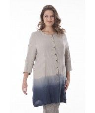 Linen longblouse with handmade dip-dye effect at the bottom