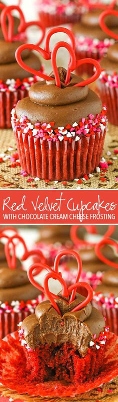 Red Velvet Cupcakes with Chocolate Cream Cheese Frosting! Perfect for Valentine's Day!