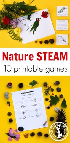 Explore outdoors with 10 printable nature STEAM activities for children! Learn about nature while completing engineering challenges, going on scavenger hunts, and making art with natural materials. #homeschool #stem #nature #kidsactivities #printable #t Math Activities For Kids, Nature Activities, Steam Activities, Spring Activities, Preschool Crafts, Camping Activities, Creative Activities For Children, Outdoor Activities, Stem Preschool