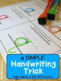 1 Simple Handwriting Trick that Makes a BIG Difference - This Reading Mama Teaching Handwriting, Handwriting Activities, Improve Handwriting, Handwriting Practice, Kindergarten Handwriting, Handwriting Without Tears, Handwriting Worksheets, Free Handwriting, Learning To Write