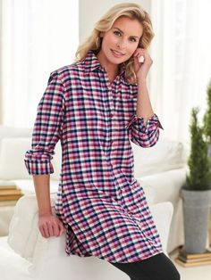 Plaid Flannel Big Shirt - The day just got cozier when you put on this longer-length flannel shirt that's brushed for pampering softness. Plaid Flannel, Flannel Shirt, Getting Cozy, Lounge Wear, Leggings Are Not Pants, Plus Size, Fashion Outfits, Casual, How To Wear