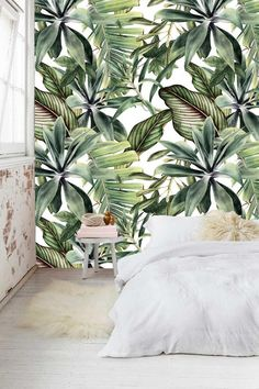 Items similar to Vini Decorative Leaves on Etsy Crystal Room, Tropical Bedrooms, Decorative Leaves, Bedroom Murals, Smooth Walls, Wallpaper Decor, Green Rooms, Master Bedroom Design, Tropical Decor