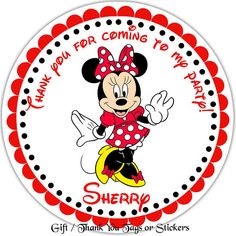 Minnie Mouse Red - Personalized Stickers, Party Favor Tags, Thank You Tags, Gift Tags, Address labels, Birthday, Baby Shower