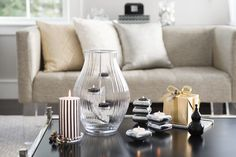 #Clear Pillar Holder, GloLite by PartyLite #Striped Pillar Candle- Black Vanilla, Optic #Shimmer #Tealight #Hurricane and Stacking Tealight Trio from PartyLite's new Black Vanilla Collection!