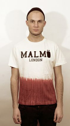 Malmo London. Malmö Signature Tie Dye Tee in off white/red. But only half. Individually hand dyed so each piece is unique.
