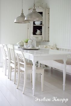 knopp - narrow + white wood table:  old table frame + old panel boards + floor paint