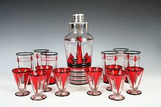 15 Pc Deco Painted Glass Cocktail Set