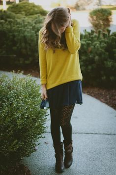 Chartreuse and Navy - Twenties Girl Style