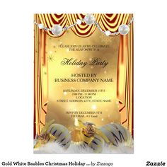 Gold White Baubles Christmas Holiday Party 5x7 Paper Invitation Card