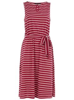 Raspberry/ivory keyhole dress
