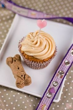 Carrot-Peanut butter doggie Birthday cupcake