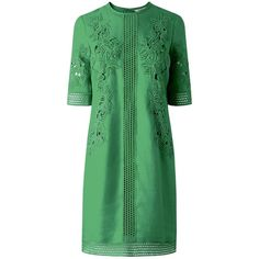 L.K. Bennett Danika Lace Insert Dress, Green (£150) ❤ liked on Polyvore featuring dresses, lace mini dress, long-sleeve midi dresses, short sleeve maxi dress, lace maxi dress and floral print maxi dress