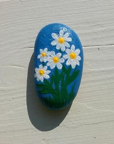 "Painted Rock / ""Daisy"" / Montana River Stone / Floral Rock / Southern Girl Out West / Stephanie Amoroso"