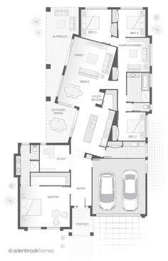 I like how the tilt of the rooms creates private yet connected spaces on the deck. House Floor Plans, Dream House Plans, Modern House Plans, Small House Plans, Single Storey House Plans, Unique Floor Plans, House Blueprints, Home Design Plans, House Layouts