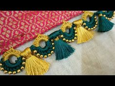 Saree Kuchu New Designs, Saree Tassels Designs, Fancy Blouse Designs, Blouse Neck Designs, Hand Embroidery Flowers, Saree Border, Saree Blouse Patterns, Creative Embroidery, Crochet Stitches Patterns