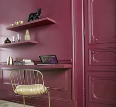 Deep pink to lighten office walls Paint Colors For Home, House Colors, Murs Violets, Corporate Office Decor, Office Christmas Decorations, Cool Office, Office Ideas, Office Walls, Design Your Home