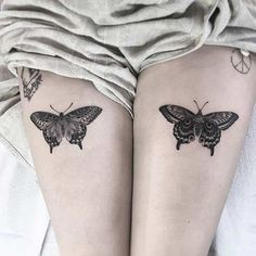 Matching Thigh Tattoos - Best Thigh Tattoos For Women: Cute Leg Tattoos on Upper, Side, and Back Thigh - Pretty Cool Female Thigh Tattoo Designs and Ideas Butterfly Tattoo Meaning, Butterfly Tattoo On Shoulder, Butterfly Tattoos For Women, Butterfly Tattoo Designs, Tattoo Designs For Women, Black Butterfly Tattoo, Butterfly Design, Moth Tattoo Design, Butterfly Outline