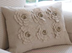 natural fabric pillows | ... year ago delete report hollyburnett flower white cream throw pillow