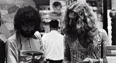 Page and Plant of Led Zepplin at Bleeker Bob's records, NYC.