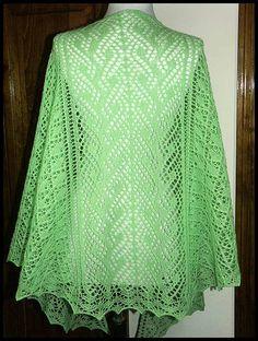"""""""Eala"""" Faroese shawl knit in Mint fingering weight yarn (100% Peruvian Highland wool), 79""""W x 28""""L (pattern by Renee Leverington), $120."""