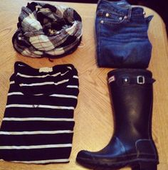 Rainy Day Outfit: Plaid Scarf, Striped Top, Hunter rainboots.