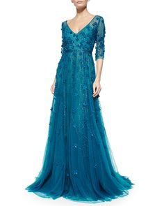 Monique Lhuillier - 3/4-Sleeve Floral-Embroidered Gown (Teal) (a)