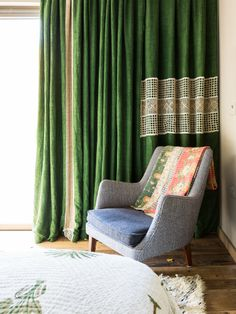 Retrouvius Reclamation and Design - Lush green velvet curtains