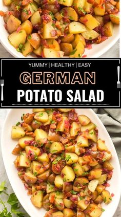 This German salad is formed with red potatoes, bacon, and a homemade dressing made from sauteed onion, vinegar , bacon drippings. Serve it warm or chilled!📌📌 German Salads, Southern Recipes, Southern Food, Southern Dinner, German Potatoes, Homemade Dressing, Potato Casserole, Casserole Recipes