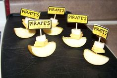 pirate boats made from apple wedges and cheese squares