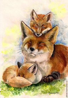 Картина акварелью Мамина радость/ Mom joy Watercolor painting