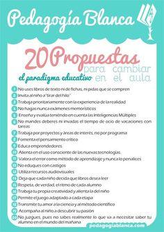 20 propuestas para cambiar en el aula. #infografia #infographic #education vía pedagogiablanca.com