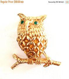 Fall Sale Rare Vintage Ciner Owl Brooch