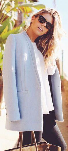 #street #style light blue coat