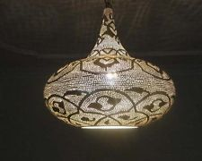 Handcrafted Moroccan Silver Plated Brass Lighting - Hanging Lamp